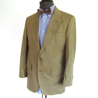 Vtg Brooks Brothers Khaki Cotton Blazer Sports Coat Jacket 40-R Casual Summer