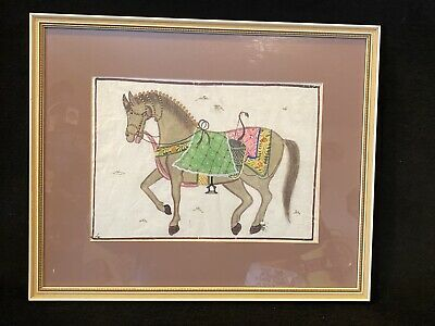 Vtg Hand Painted on Silk Asian Chinese Indian Show  War Horse Artwork Painting