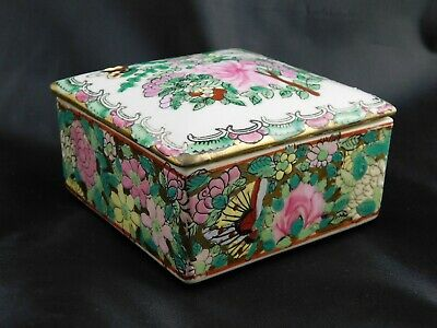 Antique Chinese Famille Rose Canton Porcelain Trinket Box Guangxu Mark c1890