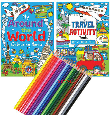 Childrens Kids Colouring Activity Book Books Around The World Travel Pencils