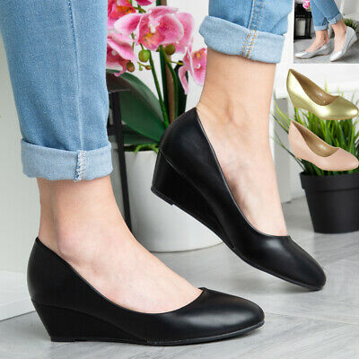 Womens Wedge Court Shoes Ladies Heel Comfy Sole Wedding Bridal Work Office Sizes