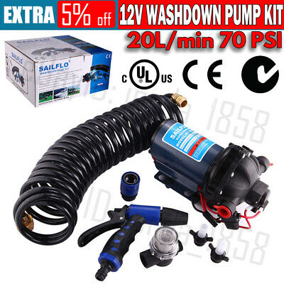 12v Washdown Pump Kit 20L/min 70 PSI Deck Wash Caravan Boat - 2 Year WARRANTY
