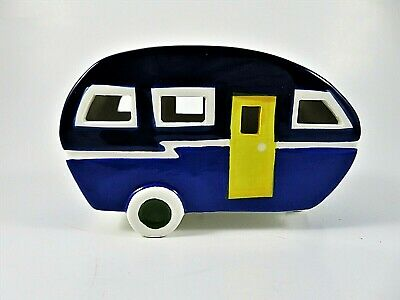 "Ceramic Lighted Retro Camper Trailer Figurine Battery Operated 5.75"" Long Blue"