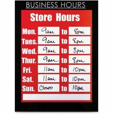 "Glolite Nu-dell 8.5"" x 11"" Magnetic Business Hours Sign Holder, Black 37085BH"