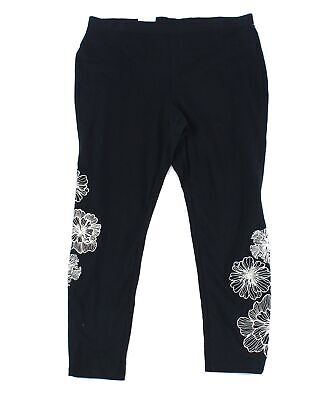 Style & Co. Women's Black Size 1X Plus Floral Embroidered Leggings $39 #329