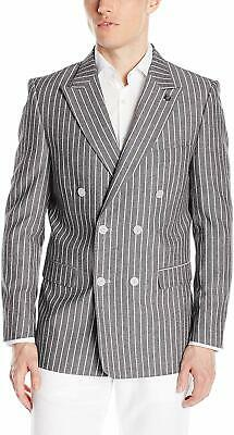 Stacy Adams Mens Suit Separate Gray Medium M Striped Double Breasted $249 254