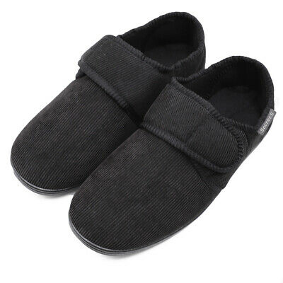 Men's Wide Diabetic Slippers Closed Back Arthritis Edema Comfort Corduroy Shoes
