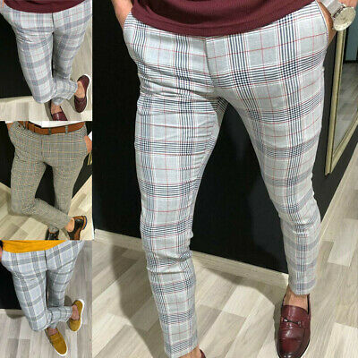 Luxury Men's Formal Striped Pants Slim Fit Casual Business Office Long Trousers