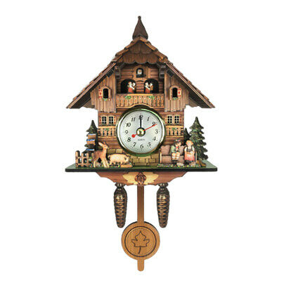 9''Vintage Style Carved Cuckoo Wall Clock Pendulum Clock Craft Art Clock Gifts J