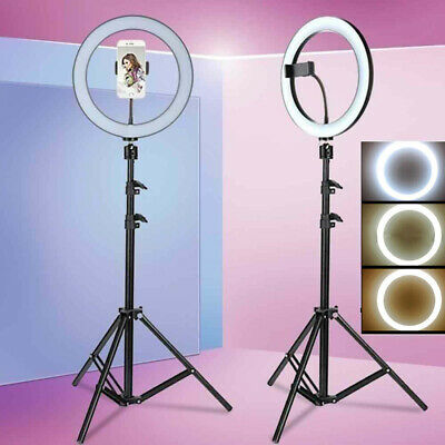 "10"" LED Ring Light Dimmable Lighting Kit Phone Selfie Tripod Makeup Live TW"