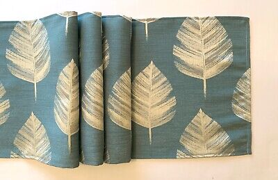 """blue and silver large leaf design fabric table runner 12"""" x 53"""""""