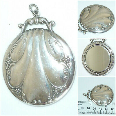 English Sterling Silver miniature mirror Chatelaine Fob Crisford & Norris 1921
