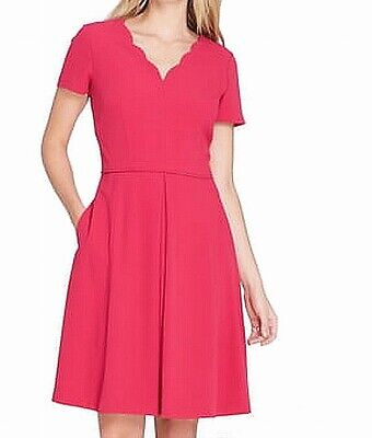 Tahari By ASL Womens A-Line Dress Pink Size 14P Petite Scallop Neck $138 609
