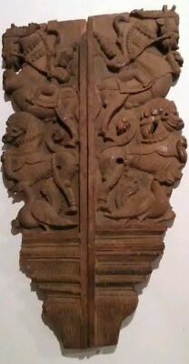 Antique Architectural Southeast Asia Wood Temple Carvings Corbel 18thC China Foo