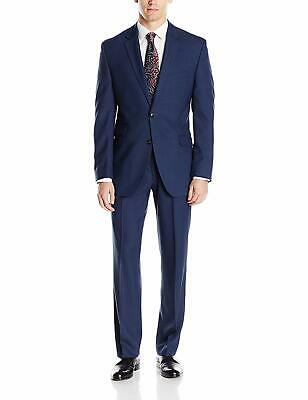 Perry Ellis Men Suit Blue Size 43 36X32 Slim-Fit 2 Pc 2-Button Stretch $375 033