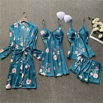 Women's Lady Sexy Pajamas Sets Satin Silk Lingerie Homewear Printing Sleepwear