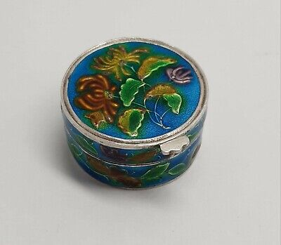 Antique Chinese Solid Silver And Enamel Pill Box