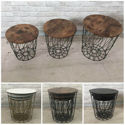 Set of 3 Metal Wire Storage Basket Round Top Side Coffee Table Retro Home Decor