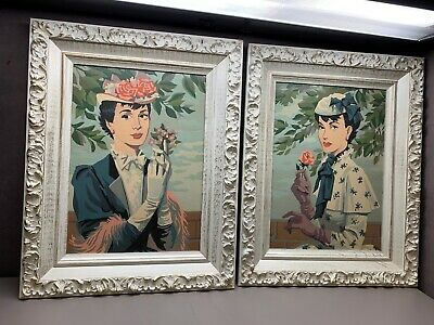 1950's Pair Paint by Number Women Flowers White Gilt Shabby Chic Frames
