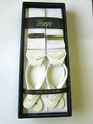 Taggs White Rigid Barathea Braces With White Button Leather Ends