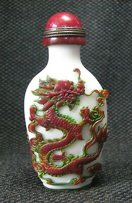 Chinese Traditional Carve Dragon And Phoenix Design Glass Snuff Bottle.//。。/