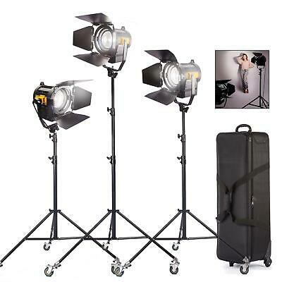 LED Fresnel 50W Spotlights Wheeled Kit Dimmable Professional Studio Photo Light