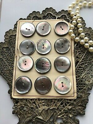 12 Vintage Round Taupe Shell Mother of Pearl Abalone Buttons -  - A19