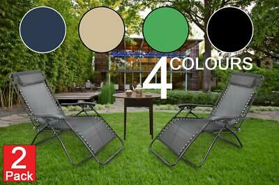 2 Zero Gravity Reclining Chairs Outdoor Garden Patio Adjustable Folding Lounger