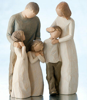 Willow Tree Figurines Set Parents with Three Children Individually Boxed