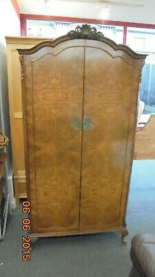 QUEEN ANNE Reproduction Mid-Century Burr Walnut Wardrobe With Key  - CS C67