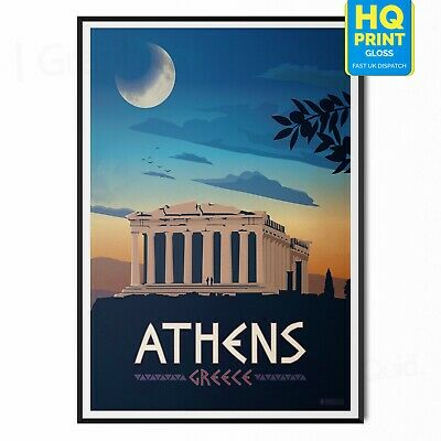 Vintage Athens Travel Retro Posters Prints Art Tourism Holiday Home Wall Decor