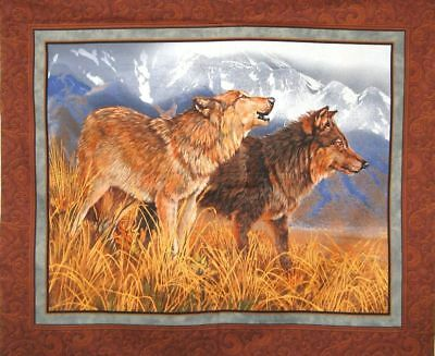 NEW LARGE WOLVES WOLF PANEL WALL HANGING FABRIC MATERIAL FOR QUILTS DECOR #3