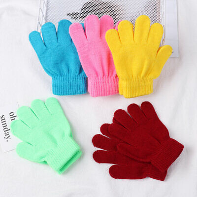 Hot Kids Boy Girl Candy Color Glove Stretch Knitted Children