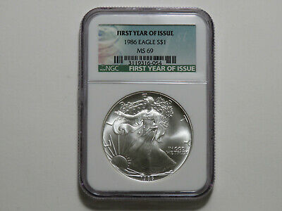 1986 American Silver Eagle - 1 oz 999 Silver - NGC MS69 - First Year Green Label