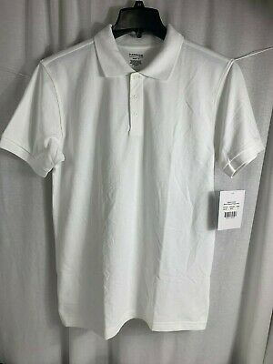 Classroom School Uniforms Unisex Polo NWT 58324 White/Gray Adult S or L UNI21