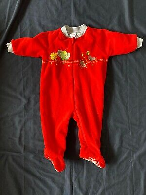 Snugtime Boys Sz 1 Lined Blanket Sleeper Pjs All In One Red