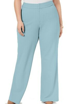INC Womens Dress Pants Sky Blue Size 20W Plus Wide-Leg Mid-Waist $89 427