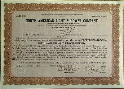 CLEMENT STUDEBAKER, JR. Autograph/Signed 1926 NA Light & Power Stock Certificate