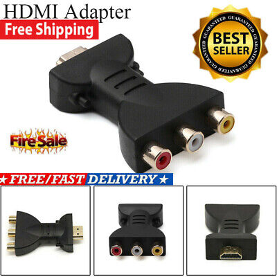Video Audio HDMI Male to 3 RCA AV Adapter Component Converter for HDTV DVD Plug