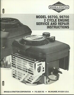 Briggs & Stratton 1987 Model 95700 96700 Engine Service & Repair Instructions