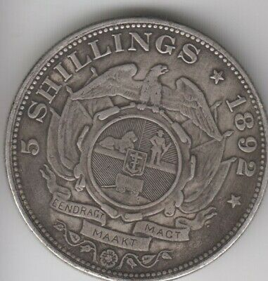 Coin 1892 South Africa silver 5 shillings single shaft in good fine condition