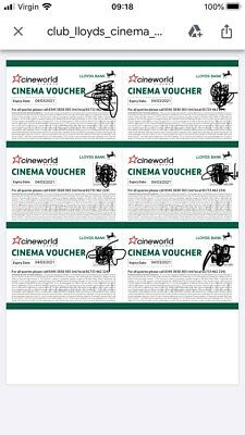 6x Cineworld Cinema Tickets from Club Lloyds UK Expiry: 4 March 2021 NO RESERVE!