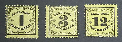 German States BADEN 1862 SGD39-D41  RURAL POSTAGE DUE Set Mint LH.