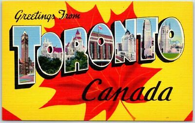 TORONTO Canada Large Letter Postcard Maple Leaf Multi-View Linen c1940s Unused