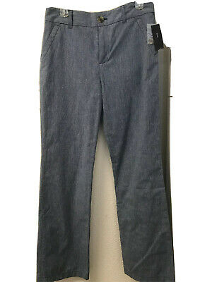 NWT Marc By Marc Jacobs Blue Linen Blend Pants Straight Leg Belted 8 Pockets Zip