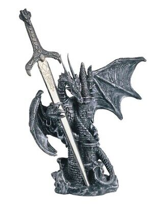 Black and Silver Dragon with Sword on Castle Figurine Fantasy Home Decoration