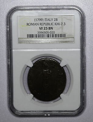 Italy-Roman Republic 2 Baiocchi ND 1799 VF25 BN NGC KM#7.3 Scarce Oval