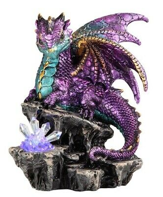 Purple Dragon with LED Light up Crystal Medieval Fantasy Figurine Decoration New