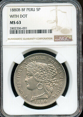 Peru 1880 Silver 5 Pesetas, Lima mint,  NGC graded MS63,  with dot variety