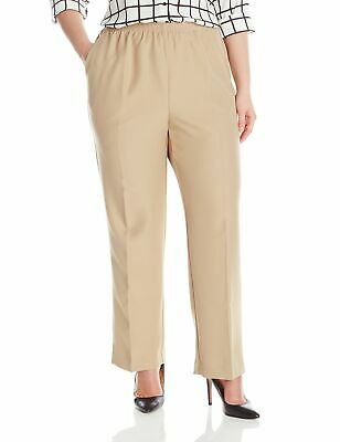 Alfred Dunner Women's Beige Size 18W Plus Pull On Elastic Pants Stretch $36 #429